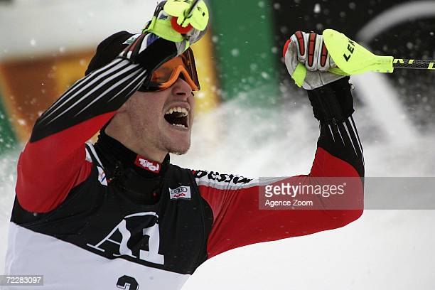 Pranger Manfred of Austria celebrates his first place win during the FIS Alpine World Cup Men's Slalom on January 23 2005 in Kitzbuhel Austria