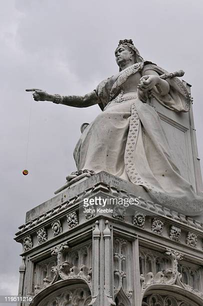 Pranksters attach a yoyo to the Queen Victoria statue on July 21 2011 in Southend on Sea United Kingdom The statue's hand was replaced back in 2008...
