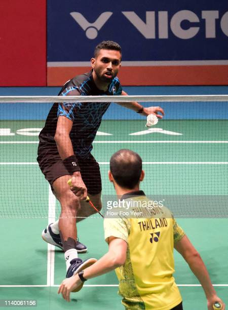 Prannoy HS of India in action against Sitthikom Thammasin of Thailand on day two of the Badminton Malaysia Open at Axiata Arena on April 03 2019 in...