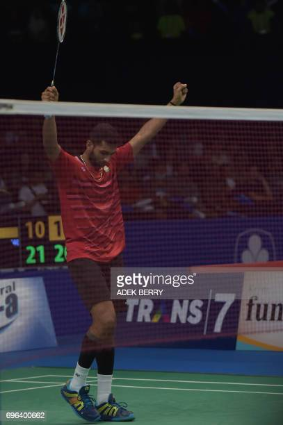 Prannoy HS of India reacts after beatin Lee Chong Wei of Malaysia during the men's singles badminton match at the Indonesia Open in Jakarta on June...