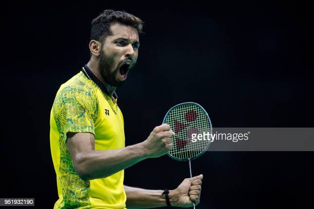 Prannoy Kumar of India reacts during his men's singles quarterfinals match against Son Wan Ho of South Korea at the 2018 Badminton Asia Championships...