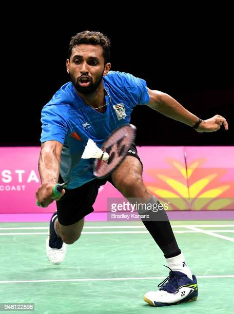 Prannoy of India plays a shot in the MenÕs Singles Bronze Medal match against Ouseph Rajiv of England during Badminton on day 10 of the Gold Coast...