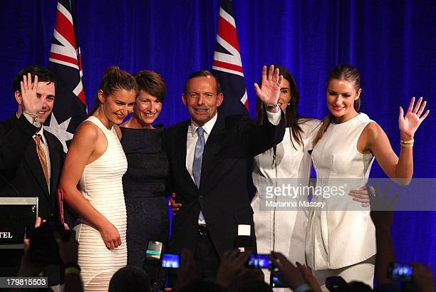 A pranster on stage with the Abbott family as Tony Abbott and his family take to the stage on September 7 2013 in Sydney Australia LiberalNational...