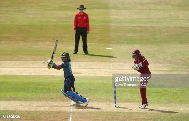 Prasadani Weerakkodi of Sri Lanka plays a shot during the ICC Women's World Cup match between West Indies and Sri Lanka at The 3aaa County Ground on...