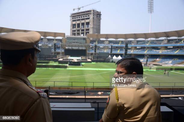 Prashant Khaire visits DY Patil Stadium at Nerul for Security Check ahead of Canadian pop star Justin Bieber's Concert on May 8 2017 in Navi Mumbai...
