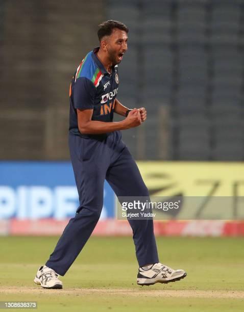 Prasidh Krishna of India celebrates dismissing Sam Billings of England during 1st One Day International between India and England at MCA Stadium on...