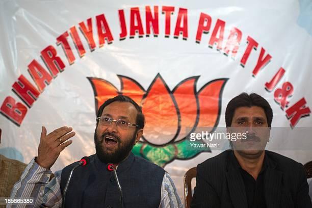 Praskash Javadekar spokesperson of India's main opposition party Bharatiya Janata Party addresses a press conference on October 25 2013 in Srinagar...