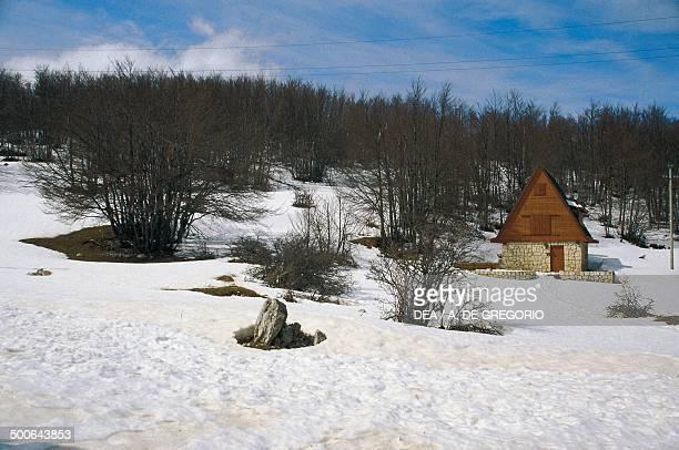 Prati di Tivo, winter landscape, Gran Sasso and Monti della Laga national park, Abruzzo, Italy.