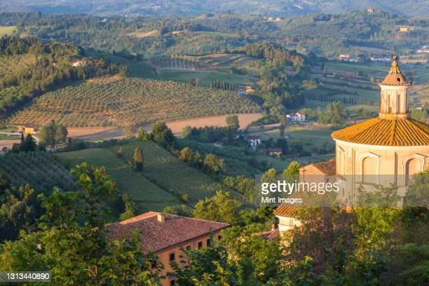 prato del duomo hilltop landmark and countryside around san miniato near florence. - san miniato stock pictures, royalty-free photos & images