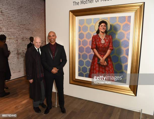 Pratt Institute President Thomas Schutte and Kadir Nelson attend HBO's The HeLa Project Exhibit For The Immortal Life of Henrietta Lacks on April 6...