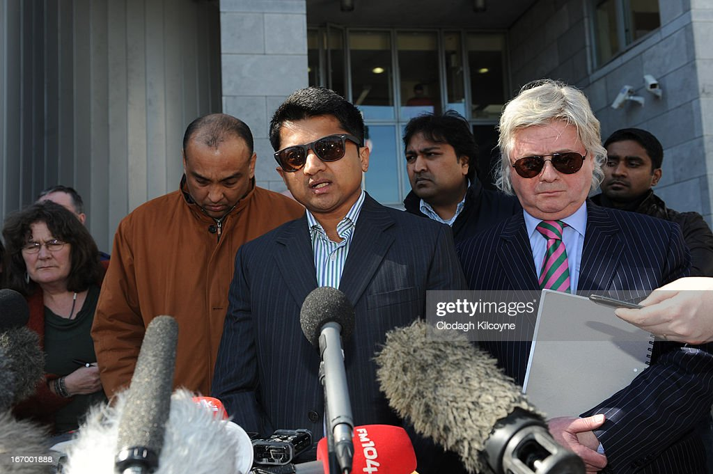 Praveen Halappanavar (C), husband of Savita Halappanavar speaks outside Galway City Hall, as the jury in the Savita Halappanavar inquest returned a unanimous verdict of death by medical misadventure against the HSE (Health Services Executive) on April 19, 2013 in Galway, Ireland. The jury heard that Mrs Halappanavar would probably still be alive today if the law had allowed an abortion. Savita Halappanavar was 17 weeks pregnant when admitted to University Hospital Galway on October 21, 2012, with an inevitable miscarriage. The 31 year old died a week later in intensive care from multi-organ failure from septic shock and E.coli, four days after she delivered a dead foetus.