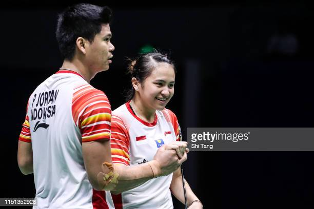 Praveen Jordan and Melati Daeva Oktavianti of Indonesia celebrate the victory after the Mixed Doubles match against Hsieh Pei Shan and Wang Chi-Lin...
