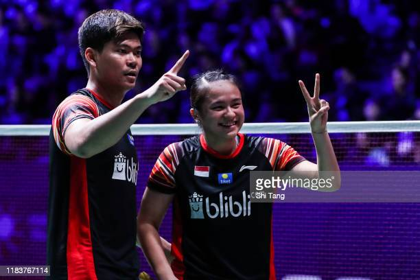 Praveen Jordan and Melati Daeva Oktavianti of Indonesia celebrate the victory in the Mixed Double final match against Zheng Siwei and Huang Yaqiong...
