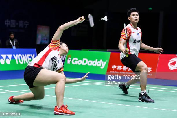 Praveen Jordan and Melati Daeva Oktavianti of Indonesia compete in the Mixed Doubles match against Hsieh Pei Shan and Wang Chi-Lin of Chines Taipei...