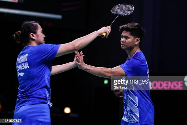 Praveen Jordan and Melati Daeva Oktavianti of Indonesia react in the Mixed Doubles quarter finals match against Zheng Siwei and Huang Yaqiong of...