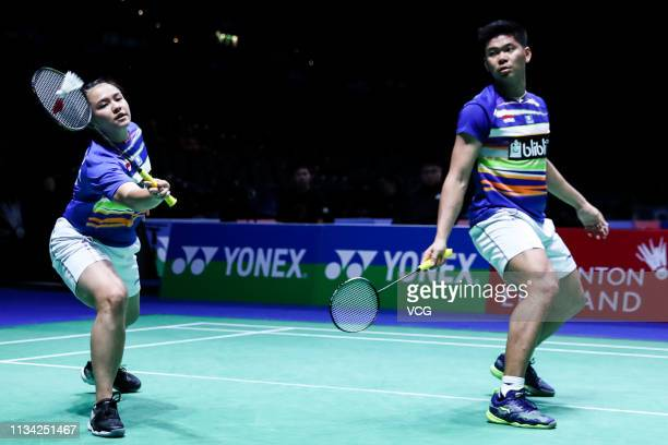 Praveen Jordan of Indonesia and Melati Daeva Oktavianti of Indonesia compete in the Mixed Doubles first round match against Hafiz Faisal of Indonesia...