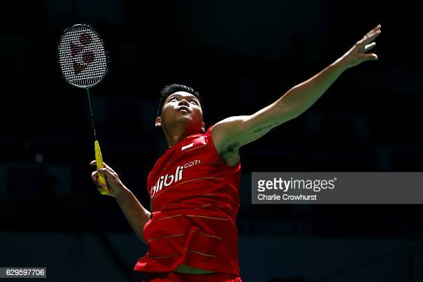 Praveen Jordan of Indonesia in action during his mixed doubles match against Tontowi Ahmad and Liluyana Natsir of Indonesia on Day One of the BWF...