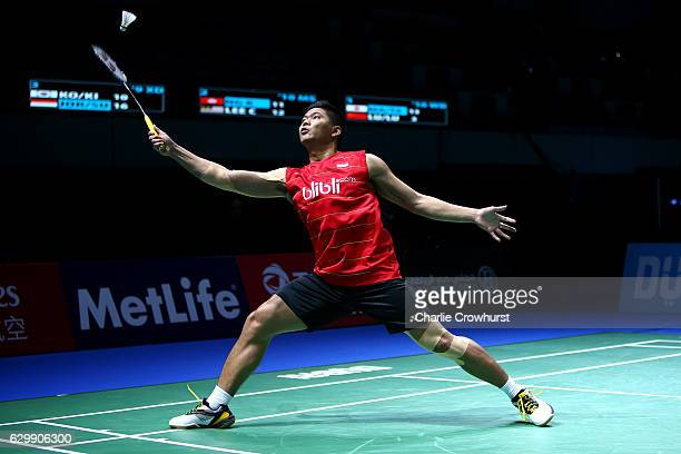 Praveen Jordan of Indonesia in action during the mixed doubles match against Ko Sung Hyun and Kim Ha Na of Korea on Day Two of the BWF Dubai World...