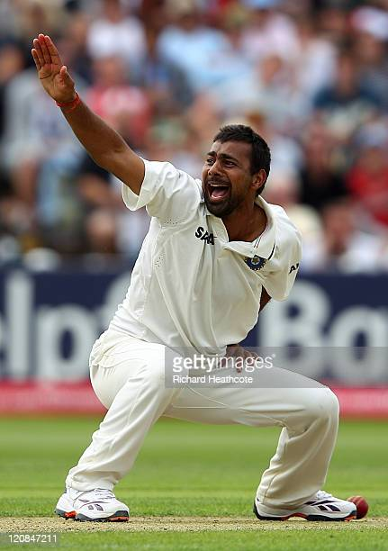 Praveen Kumar of India appeals successfully for the wicket of Kevin Pietersen of England during day two of the 3rd npower Test at Edgbaston on August...