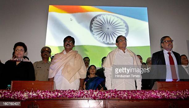 Praveen Mahajan, Special Secretary & Chairperson, SS Palanimanickam, MOS Finance, Union finance minister P Chidambaram and Sumit Bose, Revenue...