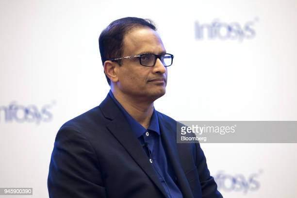 Pravin Rao chief operating officer of Infosys Ltd listens during a news conference in Bengaluru India on Friday April 13 2018 Infosys Chief Executive...