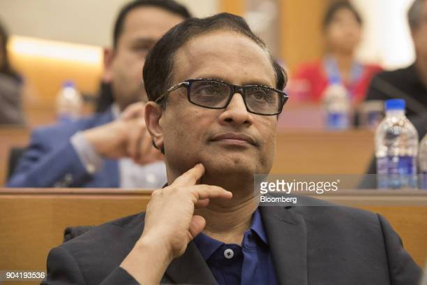 Pravin Rao chief operating officer of Infosys Ltd looks on during a third quarter earnings news conference in Bengaluru India on Friday Jan 12 2018...