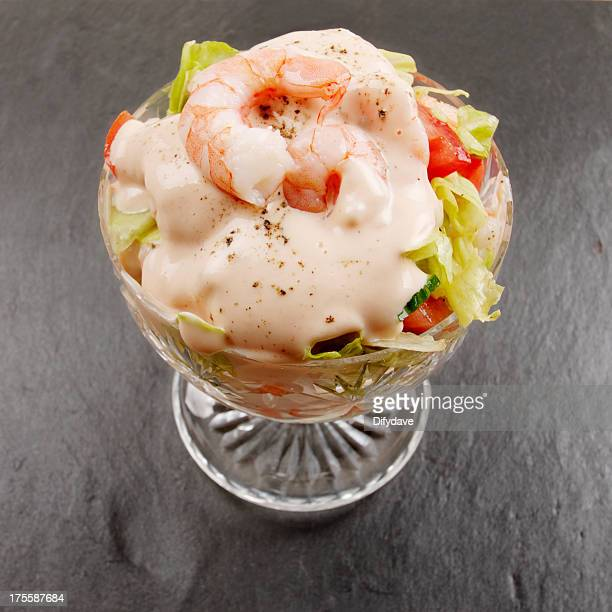 Prawn Cocktail In Glass Dish On Slate Surface