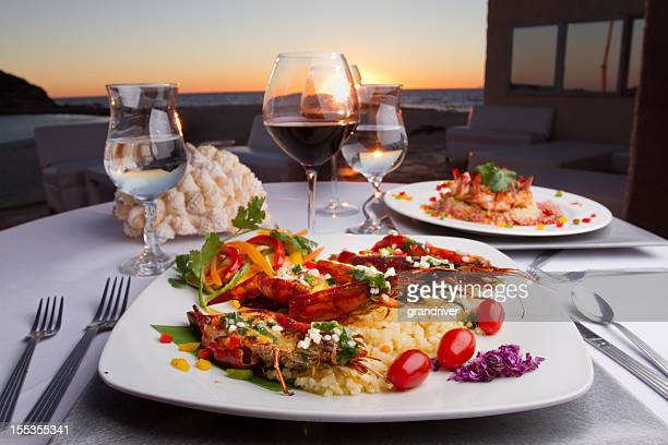 Prawn Dinner at Sunset