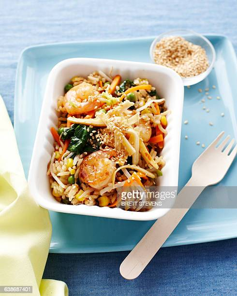 Prawn egg fried rice in fast food container, kids lunch idea