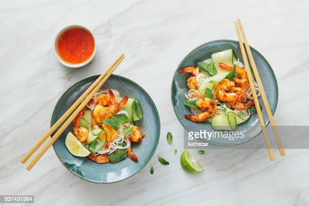 Prawn noodle salad with chilli and lime dressing