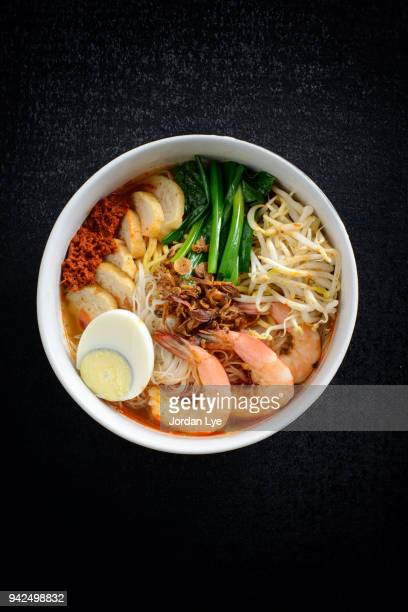 prawn noodles - george town penang stock photos and pictures