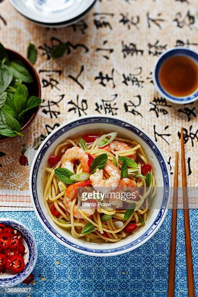 prawn noodles with mint and chilli