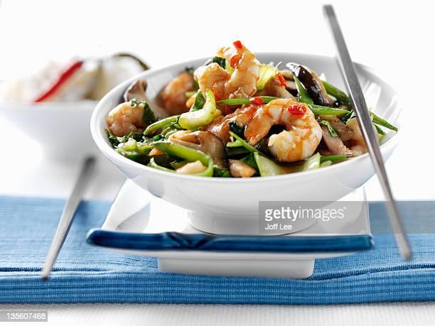 prawn stir fry - stir fried stock pictures, royalty-free photos & images