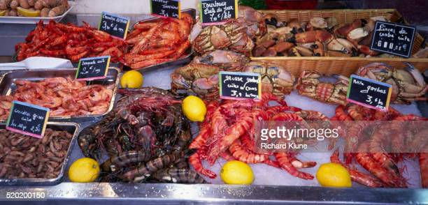 prawns and crabs - calvados stock pictures, royalty-free photos & images