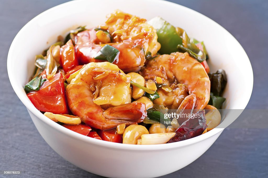 Prawns sweet sour with vegetable : Stock Photo