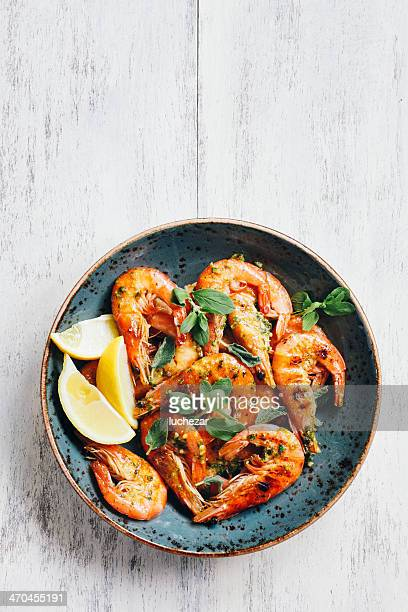 prawns with chimichurri - shrimp stock photos and pictures