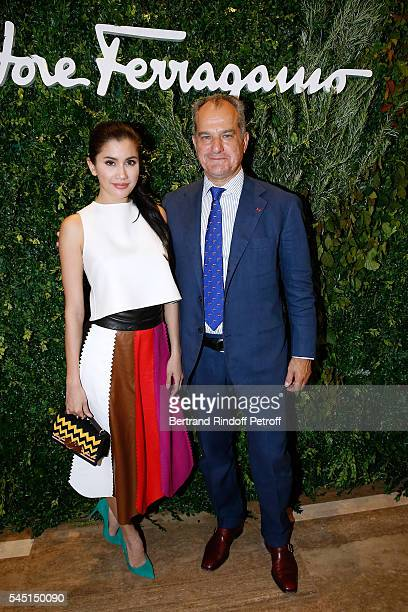 Praya Lundberg and Leonardo Ferragamo attend the Re Opening of Salvatore Ferragamo Boutique at Avenue Montaigne on July 5 2016 in Paris France