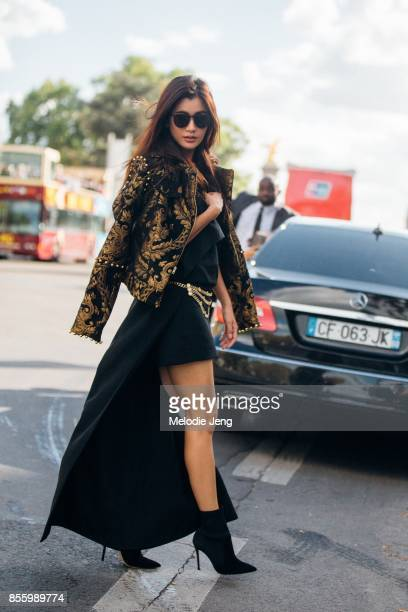 Praya Lundberg outside the Elie Saab show on September 30 2017 in Paris France