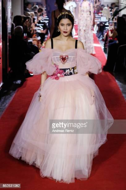 Praya Lundberg walks the runway at the Dolce Gabbana secret show during Milan Fashion Week Spring/Summer 2018 at Bar Martini on September 23 2017 in...