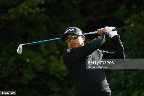Prayad Marksaeng of Thailand hits his tee shot on the 5th hole during the first round of the 146th Open Championship at Royal Birkdale on July 20...