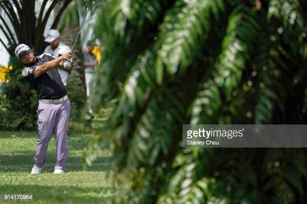 Prayad Marksaeng of Thailand in action during day four of the Maybank Championship Malaysia at Saujana Golf and Country Club on February 4 2018 in...
