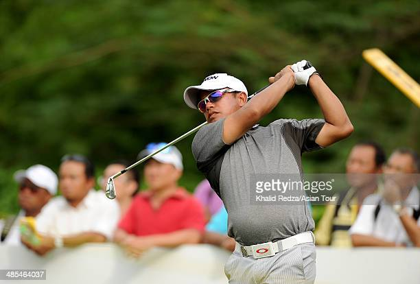 Prayad Marksaeng of Thailand in action during round two of the Maybank Malaysian Open at Kuala Lumpur Golf Country Club on April 18 2014 in Kuala...