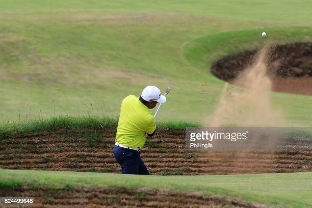Prayad Marksaeng of Thailand in action during the final round of the Senior Open Championship at Royal Porthcawl Golf Club on July 30 2017 in...