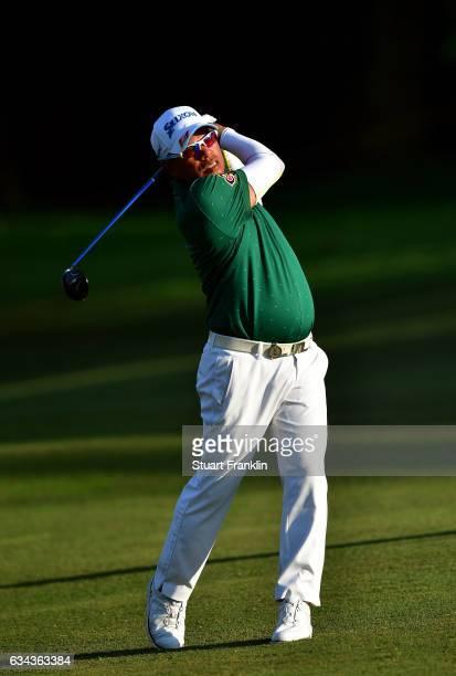 Prayad Marksaeng of Thailand plays a shot during Day One of the Maybank Championship Malaysia at Saujana Golf Club on February 9 2017 in Kuala Lumpur...