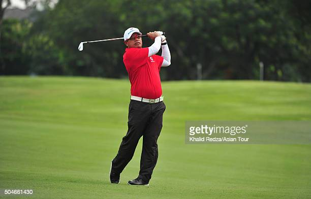 Prayad Marksaeng of Thailand plays a shot during previews ahead of the EurAsia Cup presented by DRBHICOM at Glenmarie GCC on January 12 2016 in Kuala...