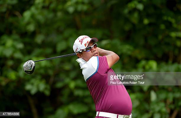 Prayad Marksaeng of Thailand plays a shot during round three of the Queen's Cup at Santiburi Samui Country Club on June 20 2015 in Koh Samui Thailand
