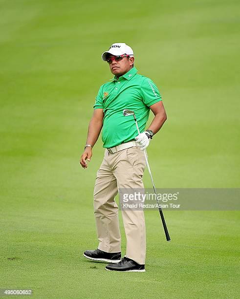 Prayad Marksaeng of Thailand plays a shot during round three of the CIMB Classic at Kuala Lumpur Golf Country Club on October 31 2015 in Kuala Lumpur...