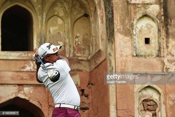 Prayad Marksaeng of Thailand plays a shot during the second round of the Hero Indian Open at Delhi Golf Club on March 18 2016 in New Delhi India
