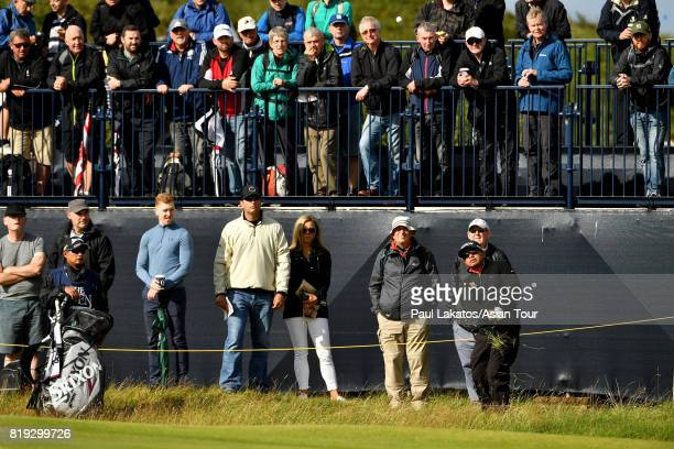 Prayad Marksaeng of Thailand plays a shot on hole 3 during the first round of the 146th Open Championship at Royal Birkdale on July 20 2017 in...