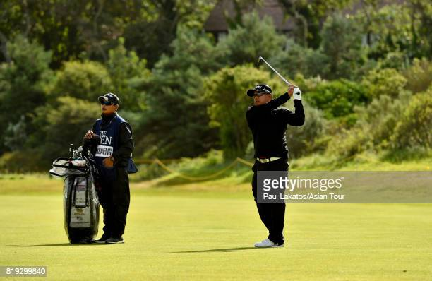 Prayad Marksaeng of Thailand plays a shot on hole 4 during the first round of the 146th Open Championship at Royal Birkdale on July 20 2017 in...